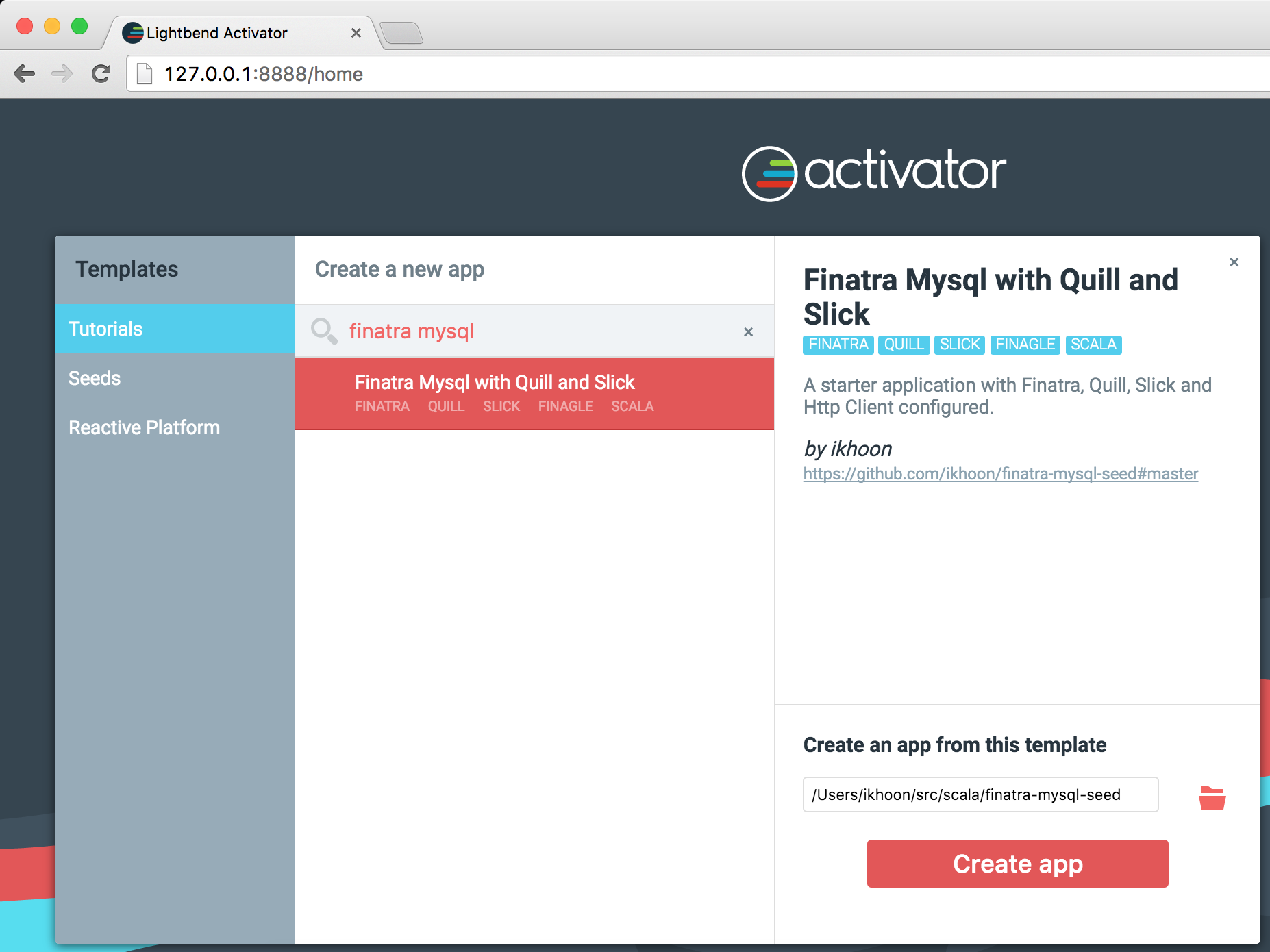 activator ui를 이용한 finatra-mysql-seed 프로젝트 설치